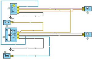 Схема электрическая передних стеклоподъёмников Рено Логан