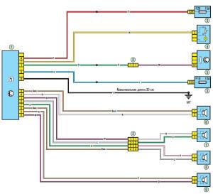 Электрическая схема подключения аудио колонок Рено Логан