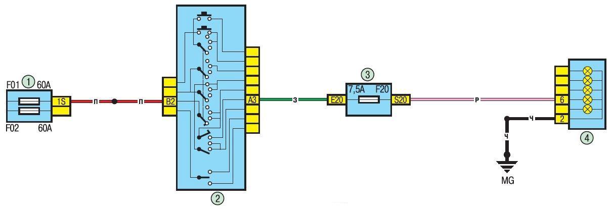 Электрическая схема задних