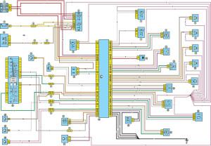 Электрическая схема системы управления двигателем Рено Логан